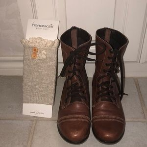 Steve Madden Combat Boots Brown. New boot cuffs!